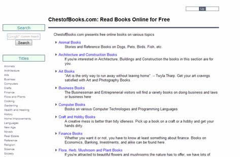 chestofbooks.com Lots of free online book on various topics and subjects such as free animal books, free architecture and construction books, free ebooks on arts and humanities, free business ebooks, free computer ebooks, free finance ebooks, free programming ebooks, free plant and agricultural ebooks etc.