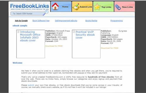Freebooklinks.com: Links to free ebooks on computer related topics, free downloadable software and the likes.