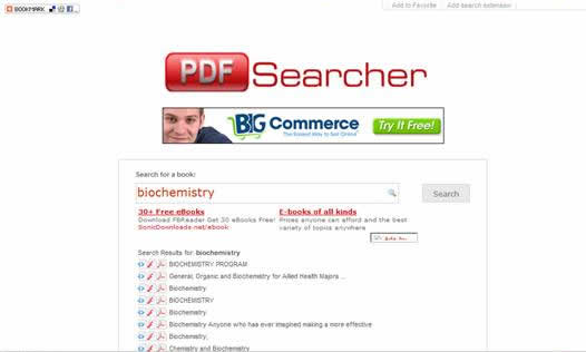 "pdf-searcher: Nice site for searching across free to downloadable ebooks in the pdf formats. Searching the word ""biochemistry"" brought out over 55 interesting links."