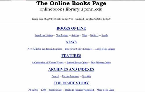 The Online books Page Lists and links to over 35000 free ebooks.The free ebooks linked to, are grouped into a wide range of different categories.